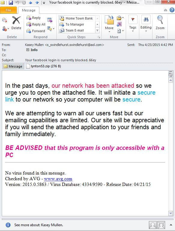 Spam Email Example Phishing Scheme