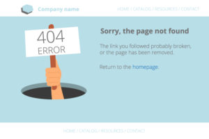 Example of a website 404 page error